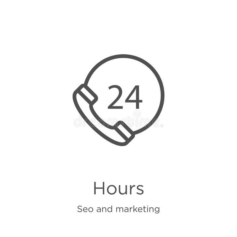 horas de vector del icono de la colección del seo y del márketing L?nea fina ejemplo del vector del icono del esquema de las hora libre illustration