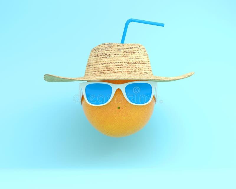 Horas de verão da laranja atrativa engraçada em wi à moda dos óculos de sol imagem de stock royalty free