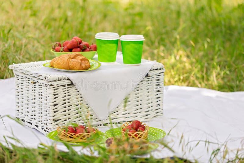 Horas de verão: tomam parte num piquenique na grama - o café e os croissant, suco fotos de stock