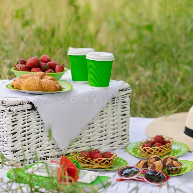 Horas de verão: tomam parte num piquenique na grama - o café e os croissant, suco imagens de stock