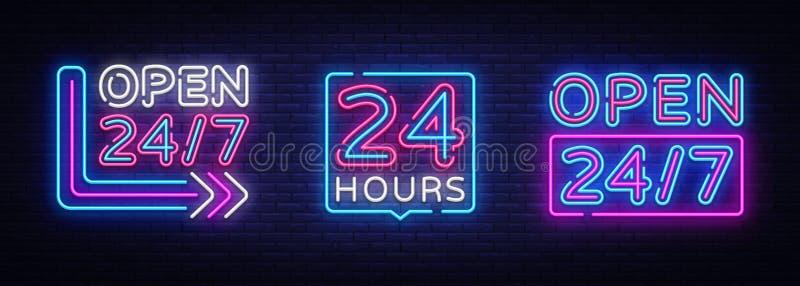 24 horas de vetor de n?on do grupo dos quadros indicadores Sinais o dia inteiro de n?on abertos, molde do projeto, projeto modern ilustração stock