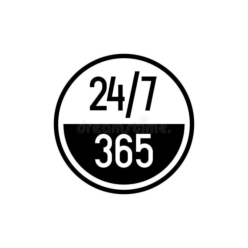 24 7 horas e icono de 365 días Cualquier momento símbolo de trabajo del servicio o de la ayuda ilustración del vector