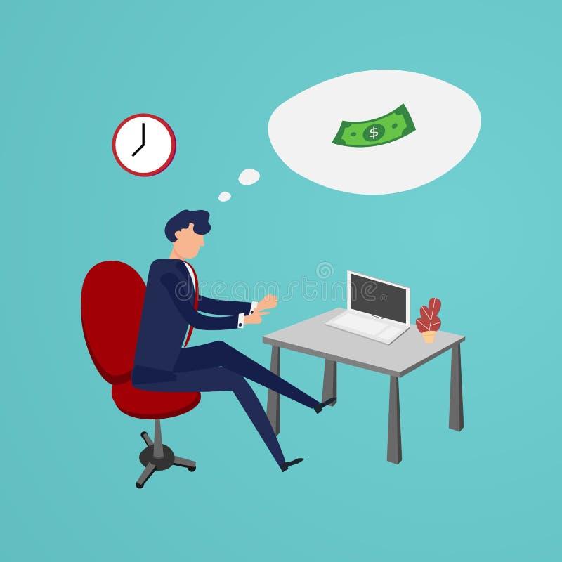 Horas extras de trabalho do homem de negócios a fazer o dinheiro no escritório Projeto liso e de projeto do caráter conceito Negó ilustração royalty free
