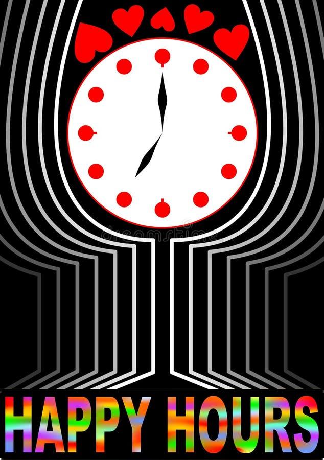 Horas felices de cartelera Vidrio estilizado con la cara de reloj Copa de vino del esquema stock de ilustración