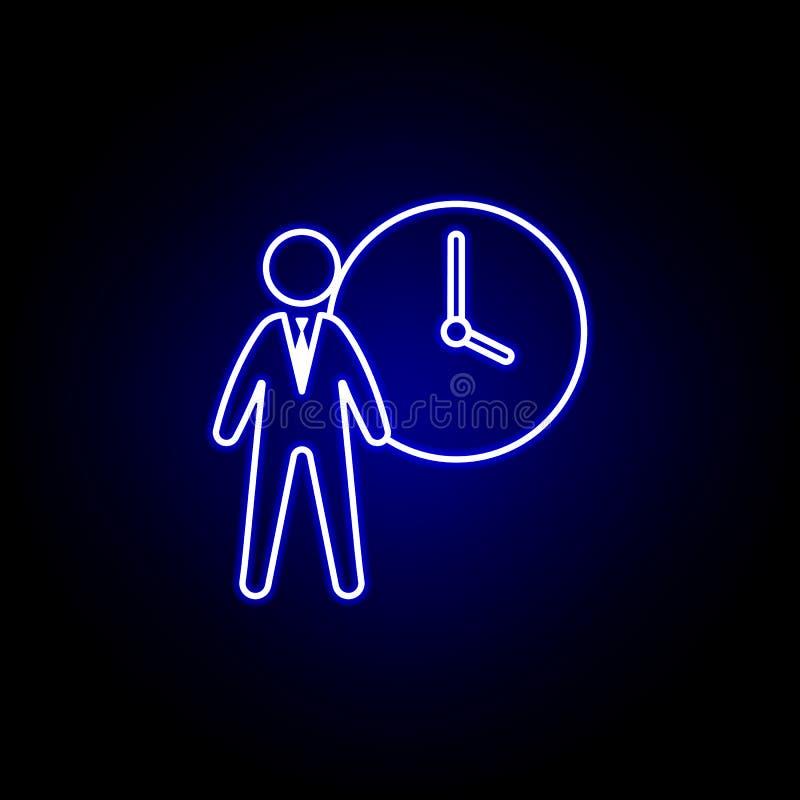 Horas, homem de negócios, ícone da programação r Os sinais e os s?mbolos podem ser usados para ilustração stock
