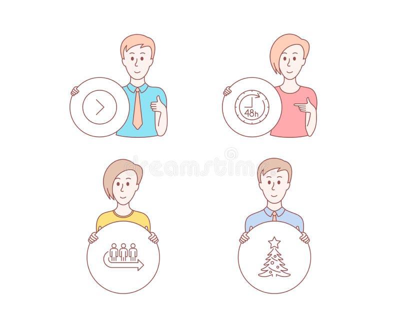48 horas, iconos delanteros y de la cola Muestra del árbol de navidad Servicio de entrega, dirección siguiente, el esperar de la  libre illustration