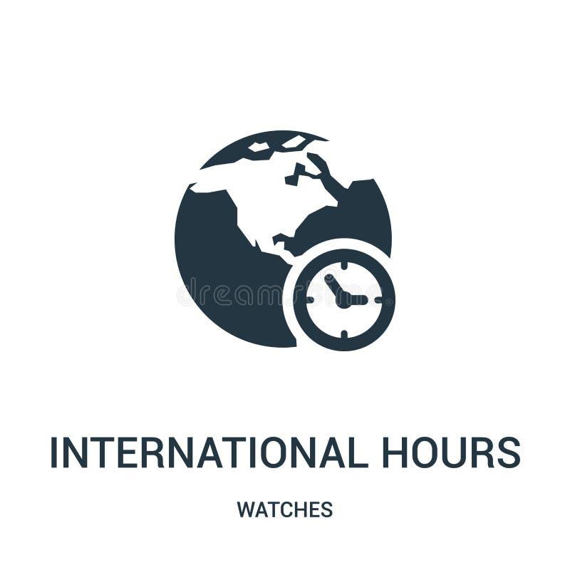 horas internacionales del símbolo de vector del icono de la colección de relojes Línea fina vector internacional del icono del es ilustración del vector