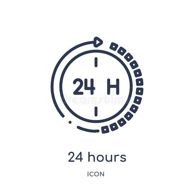 24 horas lineares de icono de la colección del esquema del servicio de atención al cliente Línea fina 24 horas de vector aislado  stock de ilustración