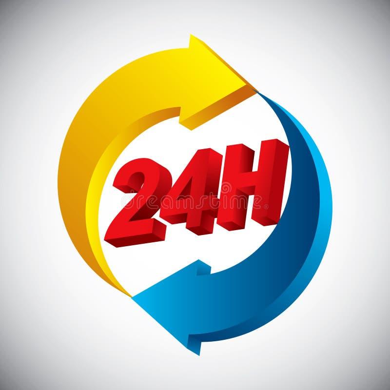 Download 24 horas de ícone ilustração stock. Ilustração de emblema - 29838201