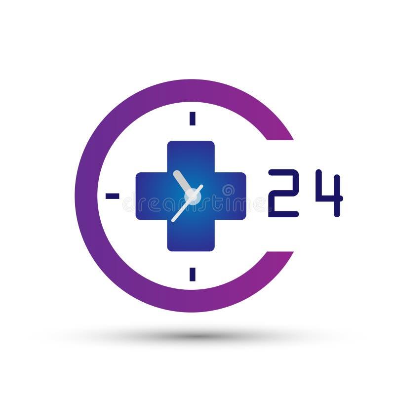 24 horas médicas de la atención sanitaria del logotipo del icono de elemento del reloj para la compañía en el fondo blanco stock de ilustración