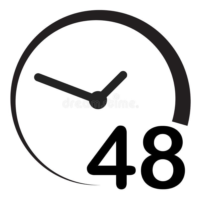 48 horas no fundo branco Estilo liso 48 horas de sinal pictograma simples para seu projeto do site, logotipo, app, UI 48 horas de ilustração stock
