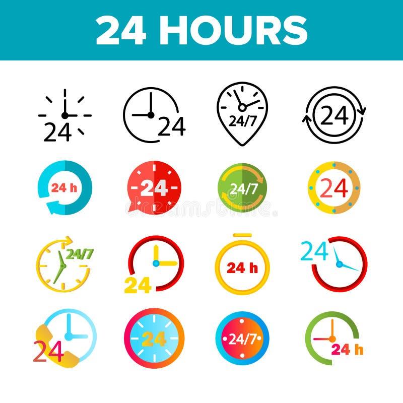 24 horas, pulso de disparo, grupo dos ícones da cor do vetor do tempo ilustração stock