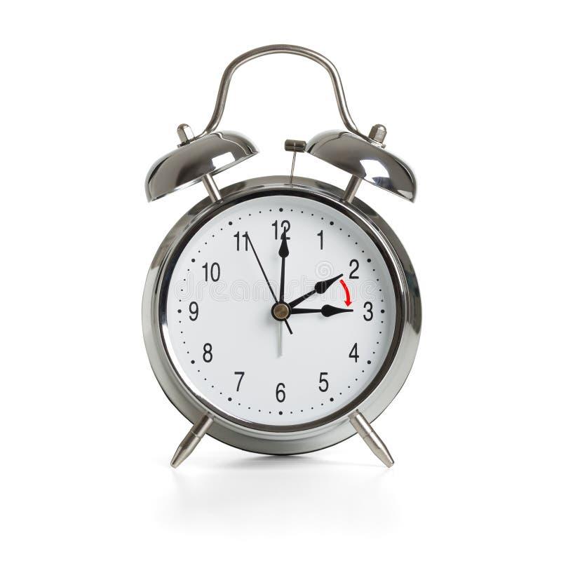Horas que muda às horas de verão isoladas no fundo branco imagens de stock royalty free