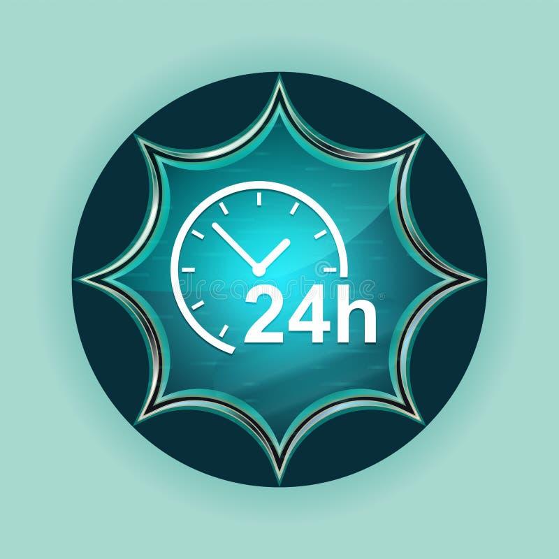 24 horas registran el fondo azul de azul de cielo del botón del resplandor solar vidrioso mágico del icono libre illustration