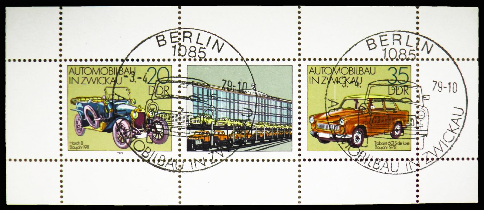 Horch 8/Trabant 601 S, Automobile In Zwickau serie, circa 1979. MOSCOW, RUSSIA - OCTOBER 21, 2018: A stamp printed in Germany shows Horch 8/Trabant 601 S stock photo