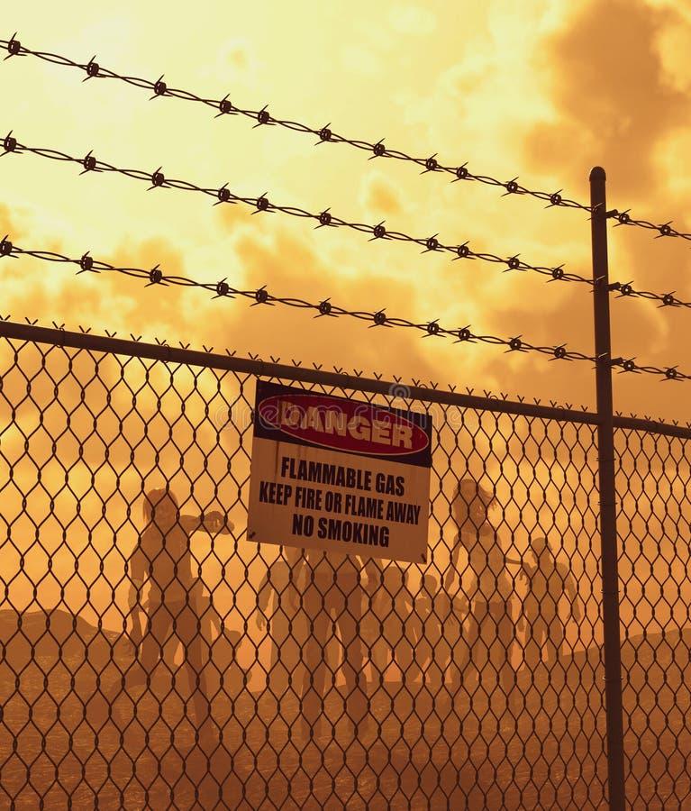 Horda dos zombis atrás da cerca no ermo ilustração royalty free