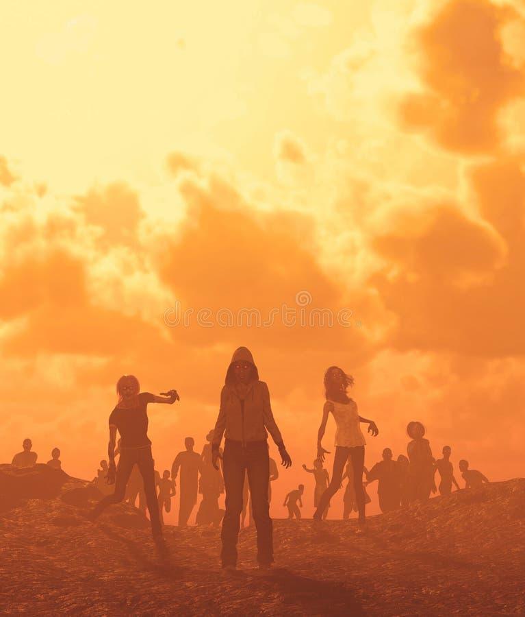 Horda dos zombis no ermo ilustração do vetor