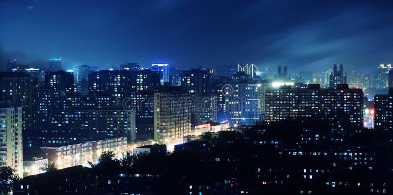 Horde het fonkelen lichten van een stad royalty-vrije stock foto