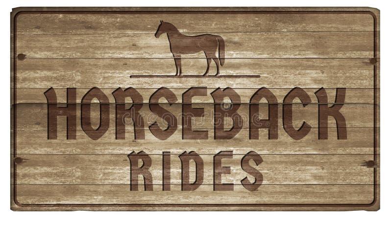 Horesback rider snidit teckenträ vektor illustrationer