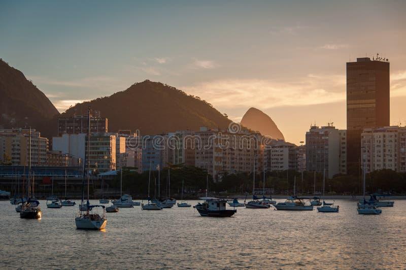 Horisont av Botafogo i Rio de Janeiro arkivfoton