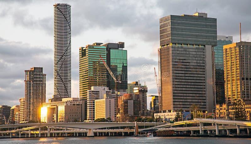 Horisont av Brisbane Australien arkivfoto