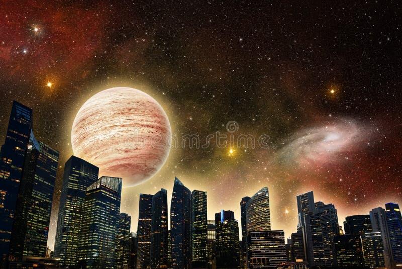Horisont av en futuristisk stad royaltyfri illustrationer