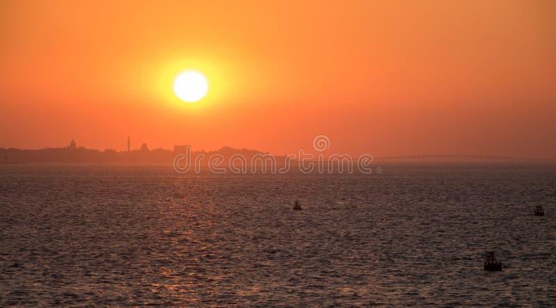 Horisont av Jiddah på solnedgången arkivfoto