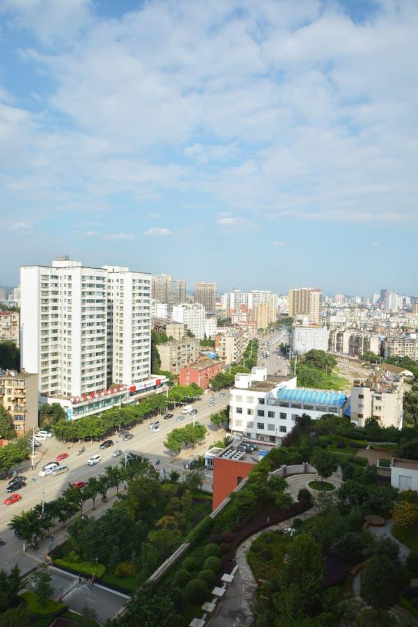 Horisont av Kunming arkivfoto