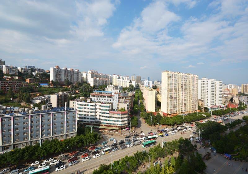 Horisont av Kunming royaltyfri fotografi