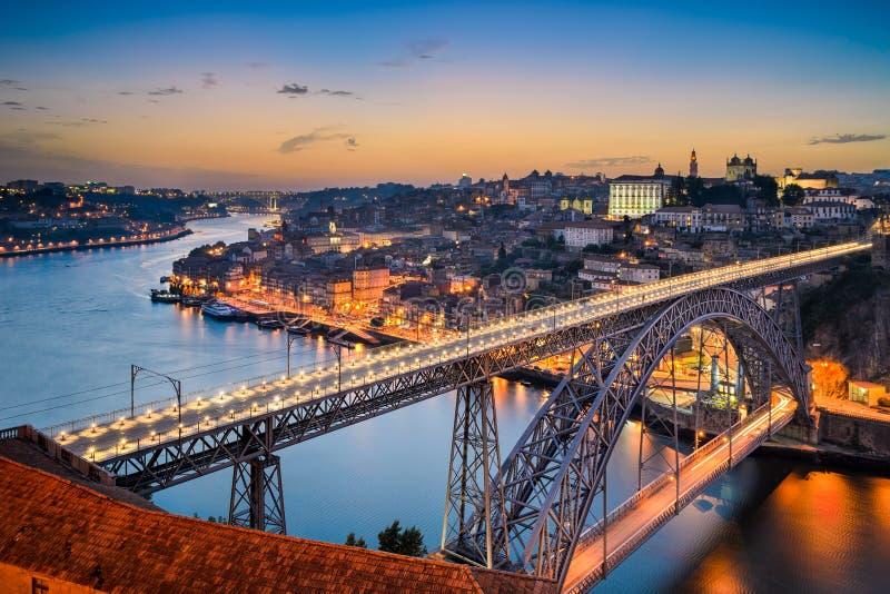 Horisont av Porto, Portugal arkivfoton