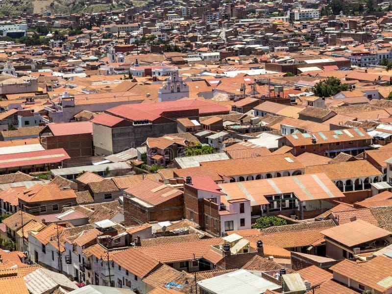 Horisont av Sucre, Bolivia arkivbilder