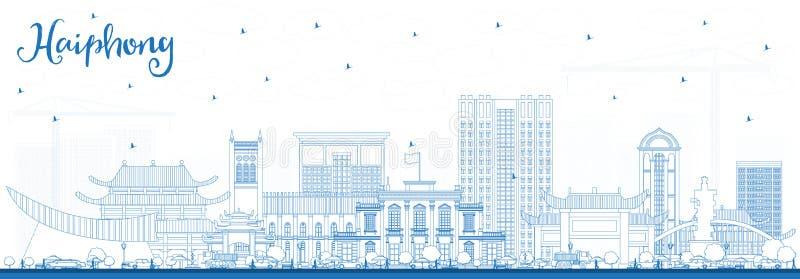 Horisont för översiktsHaiphong Vietnam stad med blåa byggnader vektor illustrationer