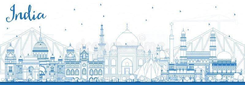 Horisont för översiktsIndien stad med blåa byggnader