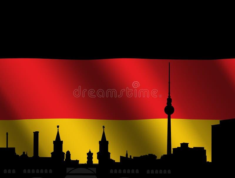 horisont för berlin flaggatysk stock illustrationer