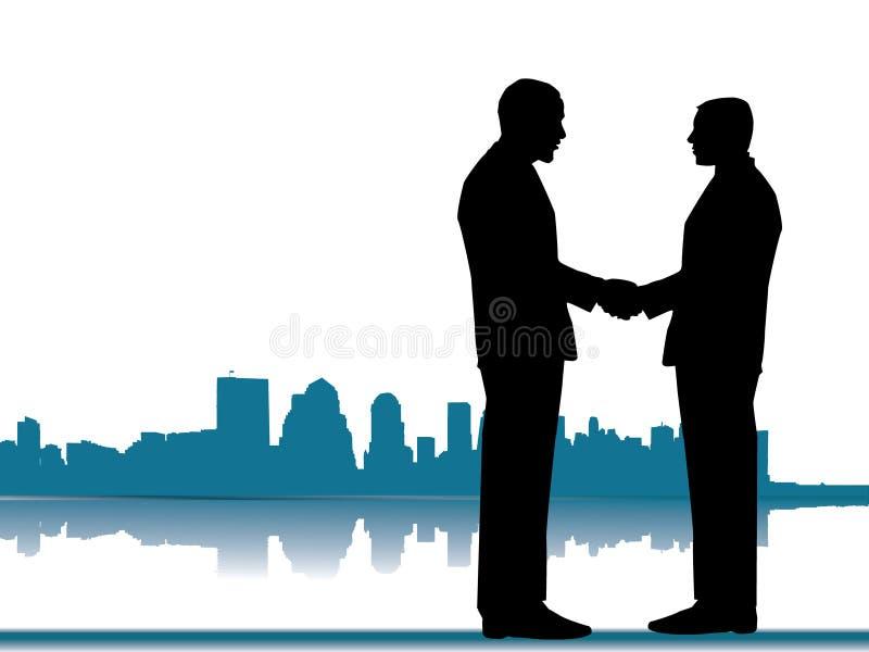 horisont för handskakning för affärsstadsavtal vektor illustrationer