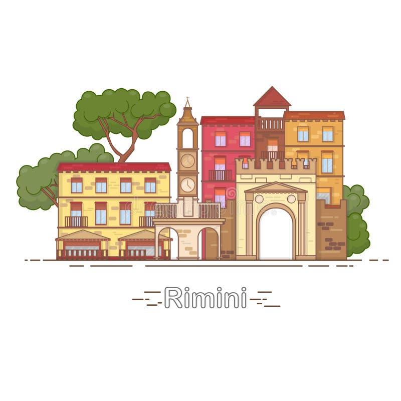 Horisont för Italien Rimini översiktsstad, linjär illustration, baner, loppgränsmärke royaltyfri illustrationer