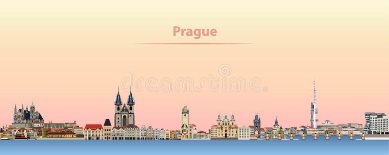 Horisont för Prague vektorstad på soluppgång vektor illustrationer