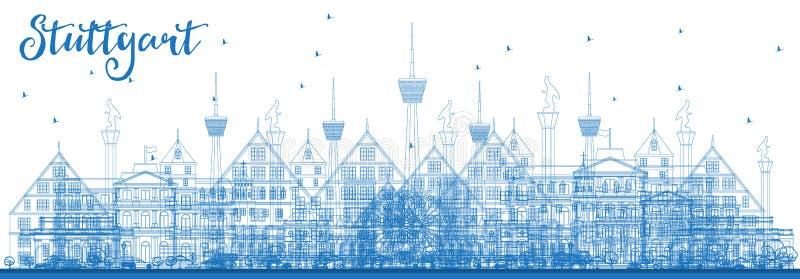 Horisont för stad för översiktsStuttgart Tyskland med blåa byggnader