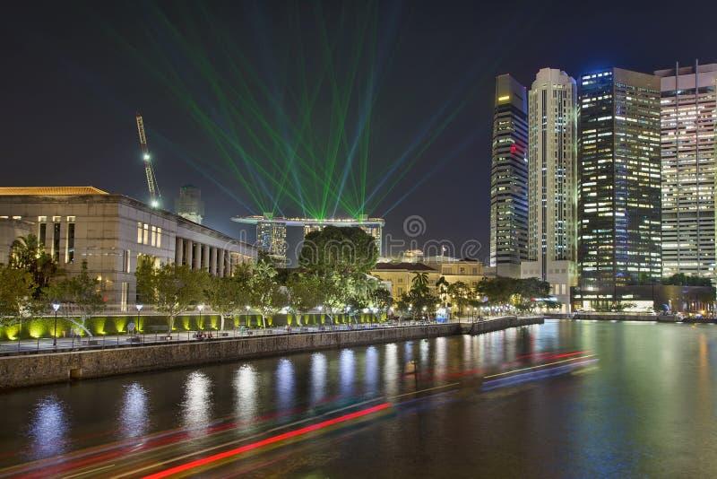 Singapore stadshorisont tänder Show royaltyfria foton