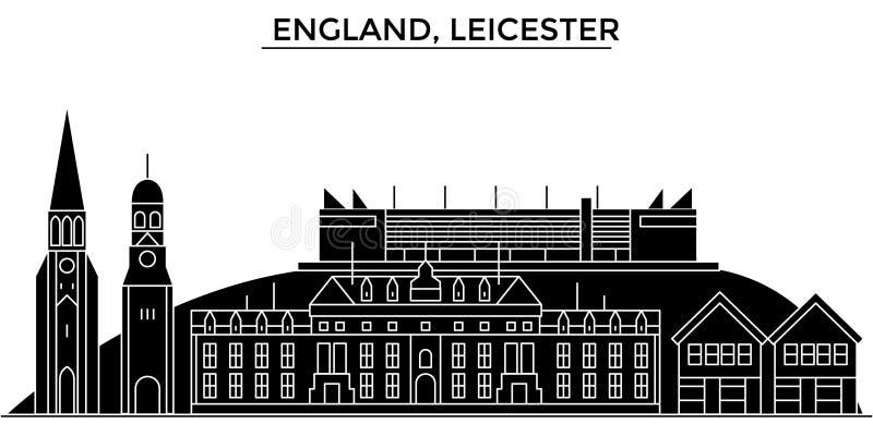 Horisont för staden för den England Leicester arkitekturvektorn, loppcityscape med gränsmärken, byggnader, isolerade på sikt royaltyfri illustrationer