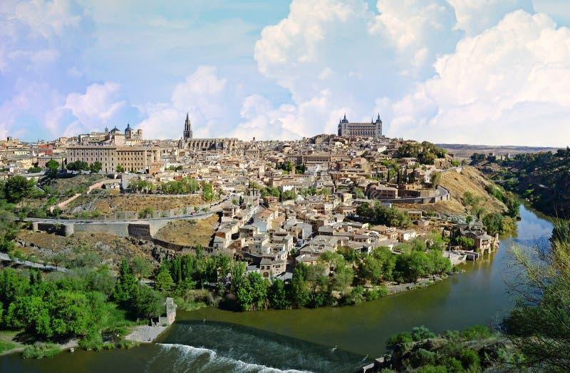 Horisont för Toledo Spanien gammal stadstad royaltyfri foto