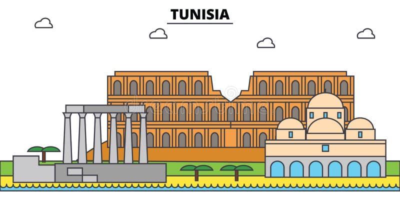 Horisont för Tunisien översiktsstad, linjär illustration stock illustrationer