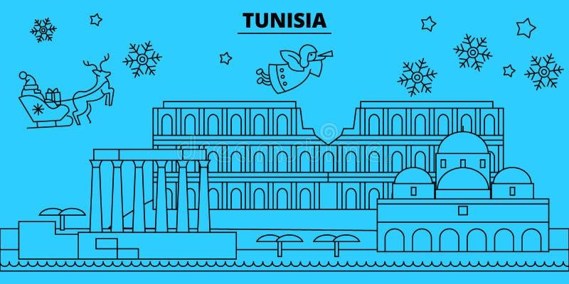 Horisont för Tunisien vinterferier Glad jul, det lyckliga nya året dekorerade banret med Santa Claus Linjära Tunisien stock illustrationer