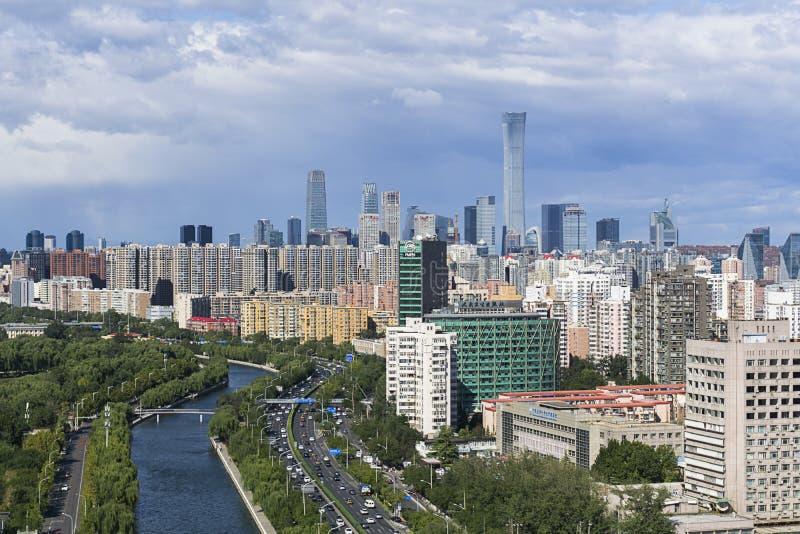 Horisont f?r Peking CBD royaltyfri foto