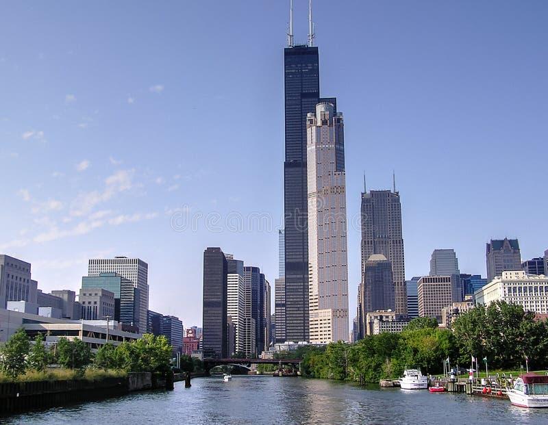 Horisont längs Chicagoet River, Illinois, IL royaltyfria bilder