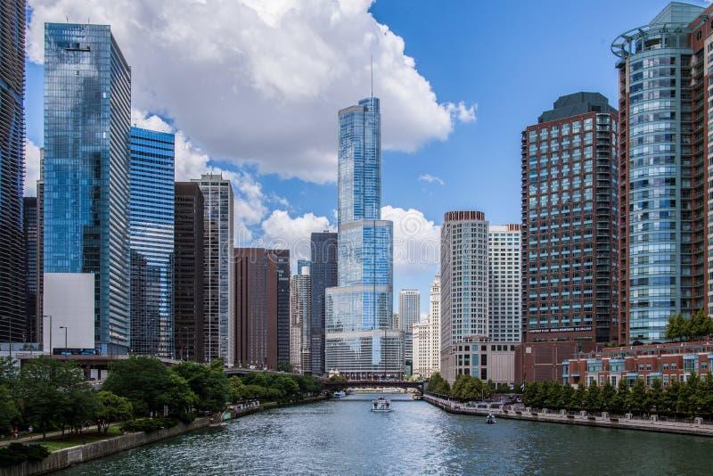 Horisont längs floden i Chicago, Illinois royaltyfri fotografi