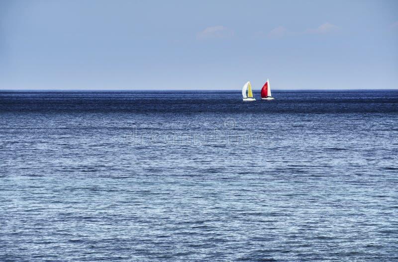Horisont med segelbåtar arkivbild