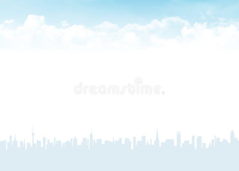 Horisont och blå himmel med moln stock illustrationer