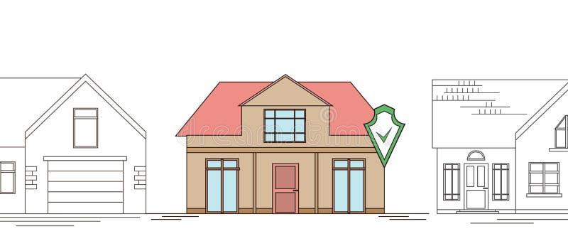 Horisontalöversiktsteckning av ett landshus med en säkerhetssköld Smart hem med larmet på bakgrunden av vanliga hem royaltyfri illustrationer