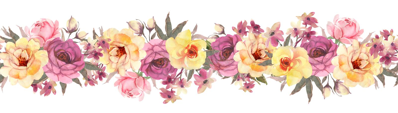 Horisontal kwiecisty sztandar z różami bezszwowy wzoru royalty ilustracja
